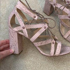 Pink snakeskin Lace-Up Heels